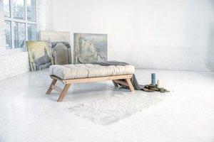 Allegro bench, raw wood - cream small 2
