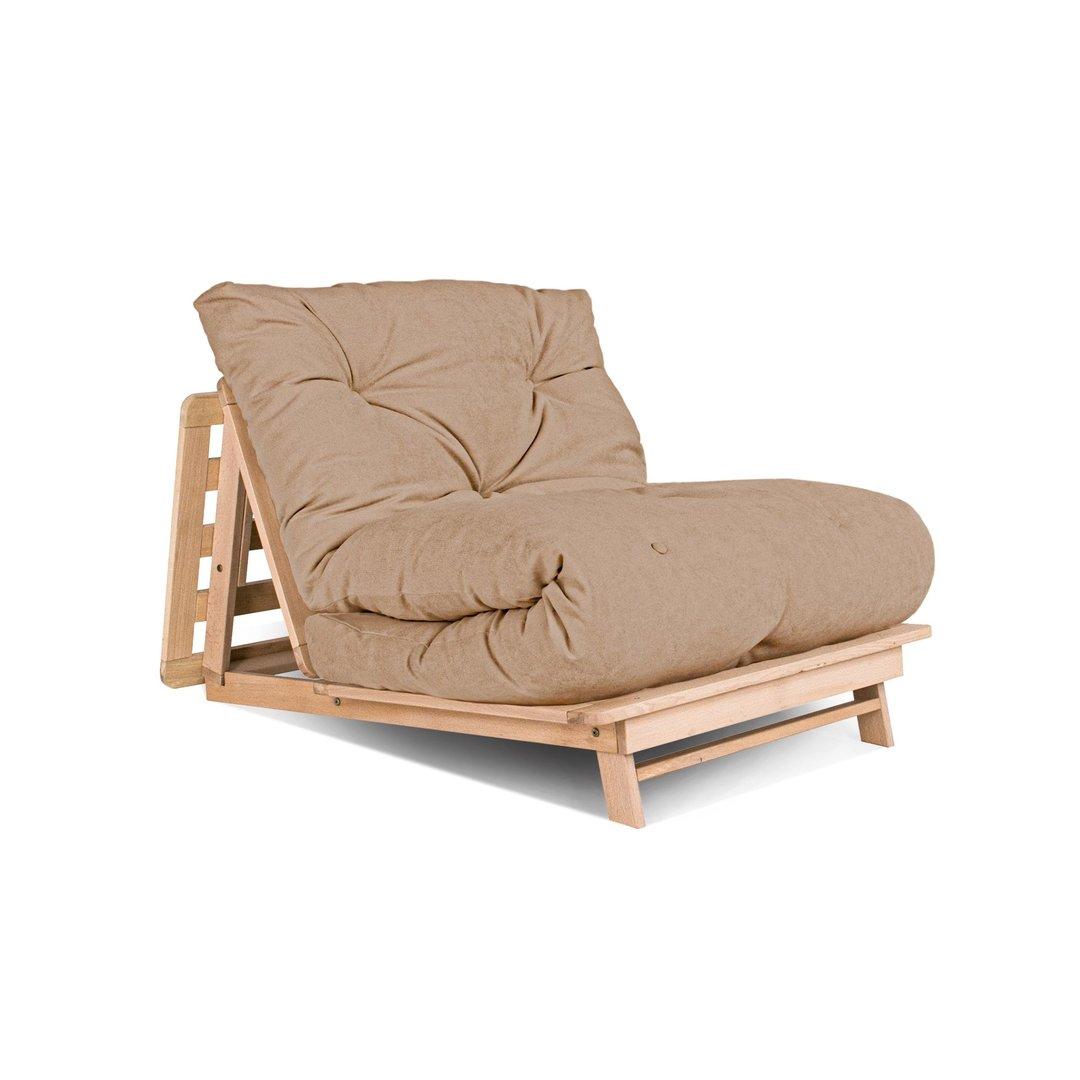 FUTON Layti 90 sofa bed, raw beech wood - beige