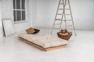 Layti 90 futon sofa raw wood - cream small 4