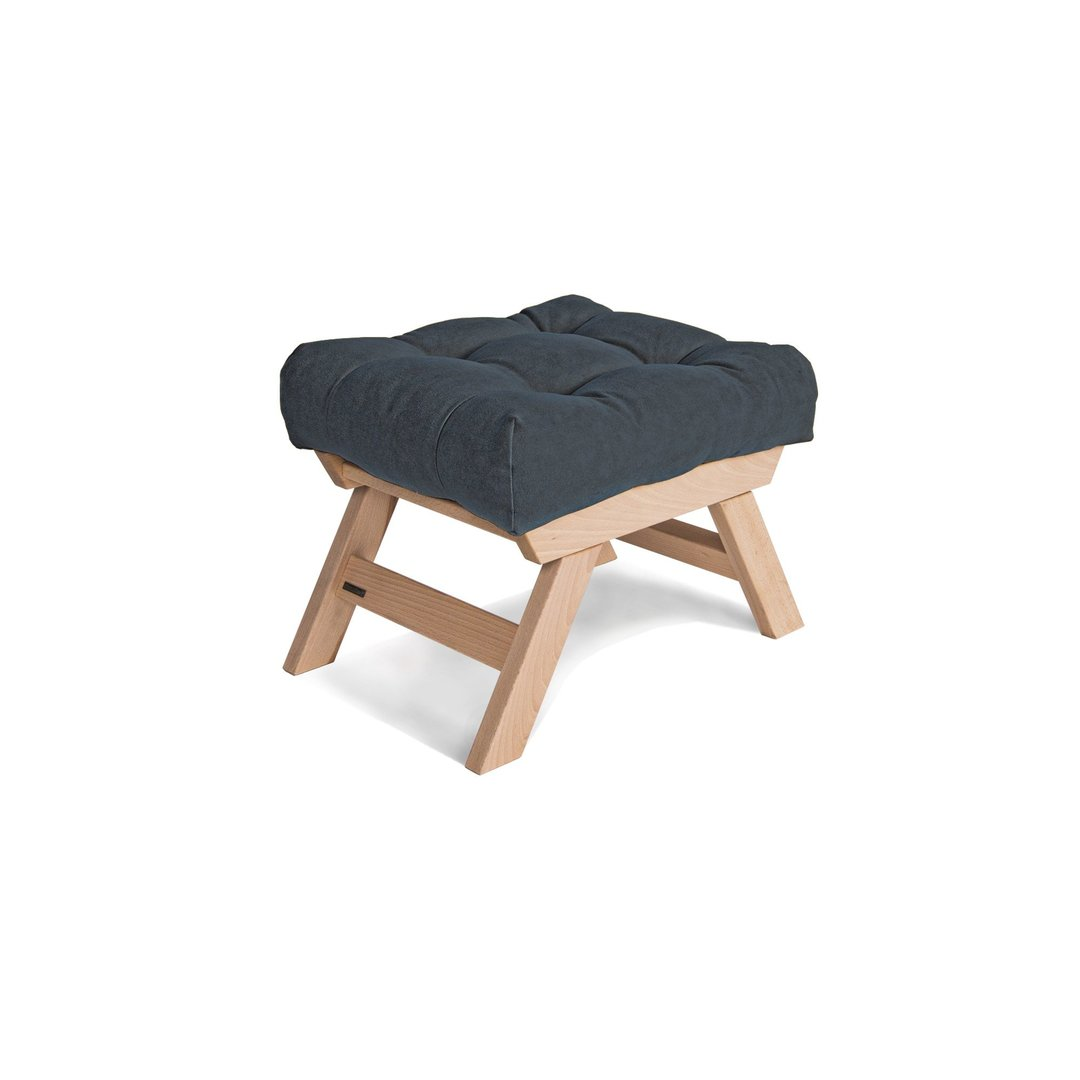 Allegro wooden footstool, raw wood puff - graphite