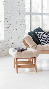 Allegro wooden footstool, raw wood pouffe - cream small 1