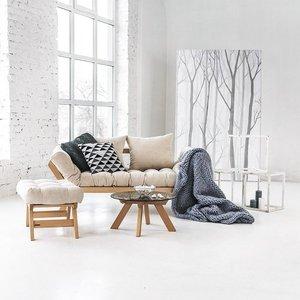 Allegro wooden footstool, raw wood pouffe - cream small 2