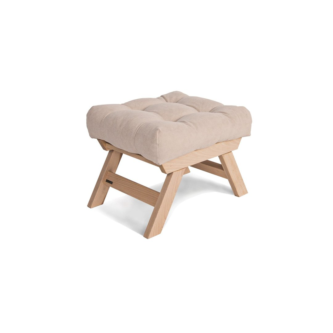 Allegro wooden footstool, raw wood pouffe - cream