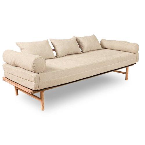 Le MAR daybed sofa raw wood - cream