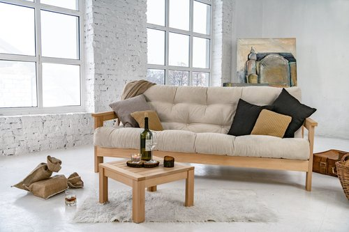 MEXICO sofa raw wood - cream