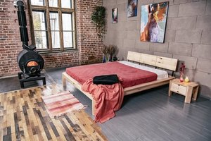 Loft bed to the bedroom 180x200 oiled wood (linseed oil) small 0