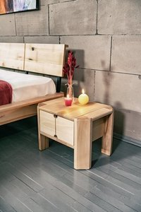 Loft bedside table with a drawer raw wood small 2
