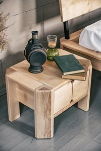 Loft bedside table with a drawer raw wood small 0