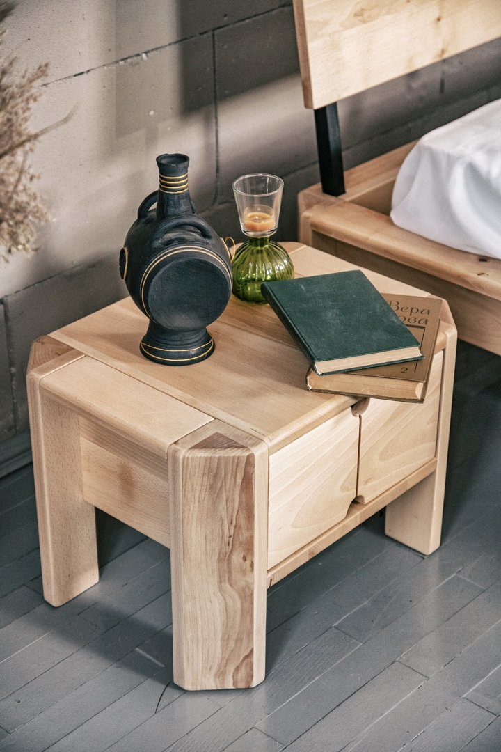 Loft bedside table with a drawer raw wood