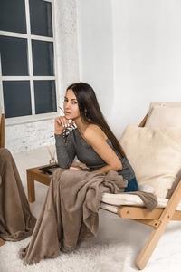 Allegro deckchair raw wood - cream small 1