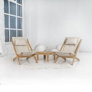 Allegro deckchair raw wood - cream small 2