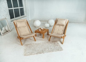 Allegro deckchair raw wood - cream small 3