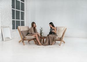 Allegro deckchair raw wood - cream small 0