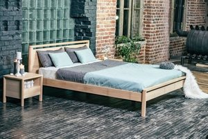 Drop Hard bedroom bed 160x200 oiled wood (linseed oil) small 1