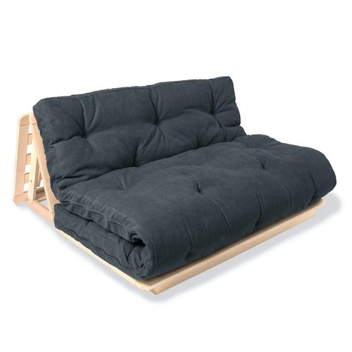 Japanese FUTON Layti 140 sofa bed, oiled wood (linseed oil) - graphite
