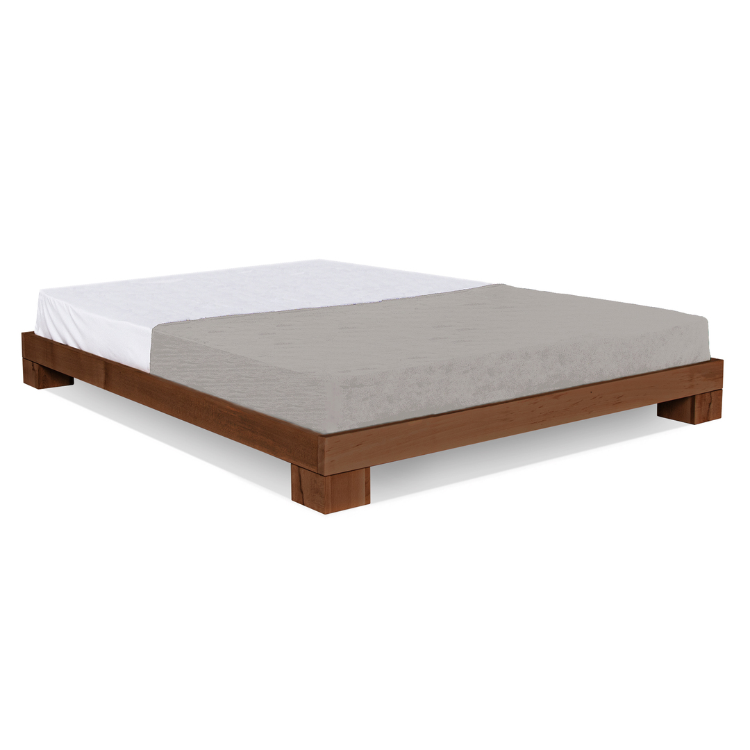 Cube wooden bed 160x200 walnut (linseed oil)