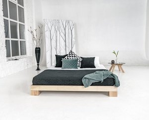 Cube bedroom bed wooden double 160x200 oiled wood (linseed oil) small 1