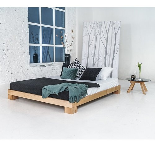 Cube bedroom bed wooden double 160x200 oiled wood (linseed oil)