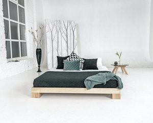 Cube double bed 160x200 raw wood small 1