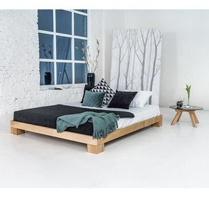 Cube double bed 140x200 raw wood small 2