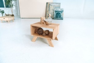 Allegro bedside table, raw wood small 1