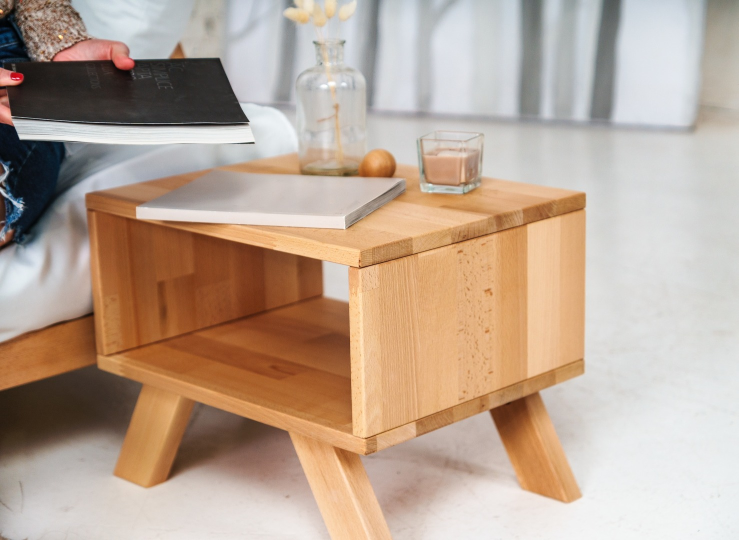 Allegro bedside table, raw wood