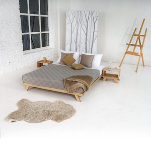 Allegro double bed 180x200, oiled wood (linseed oil) small 1
