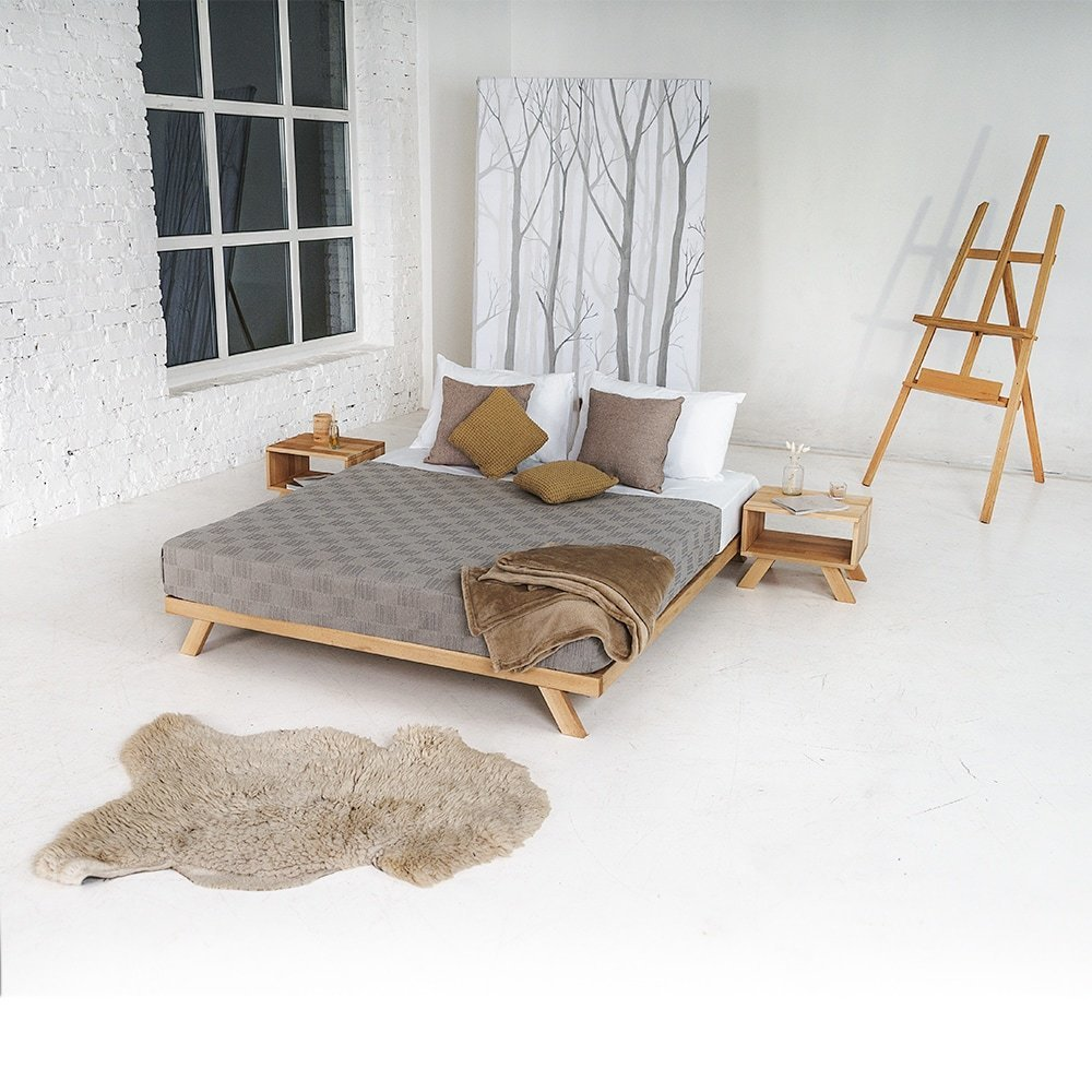 Allegro wooden bed 160x200, oiled wood (linseed oil)