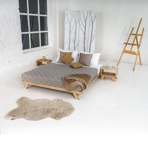 Allegro double bed 140x200, raw wood