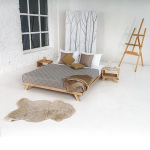 Allegro double bed 140x200, raw wood small 0