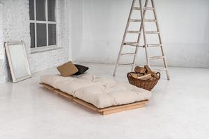 Japanese folding sofa FUTON 90x200 Layti 90 oiled beech wood (linseed oil) - cream small 1