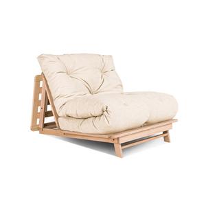 Japanese folding sofa FUTON 90x200 Layti 90 oiled beech wood (linseed oil) - cream small 2