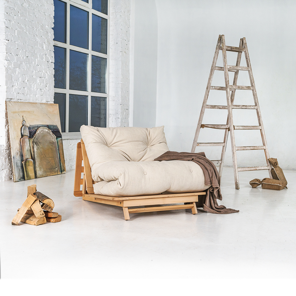 Japanese folding sofa FUTON 90x200 Layti 90 oiled beech wood (linseed oil) - cream