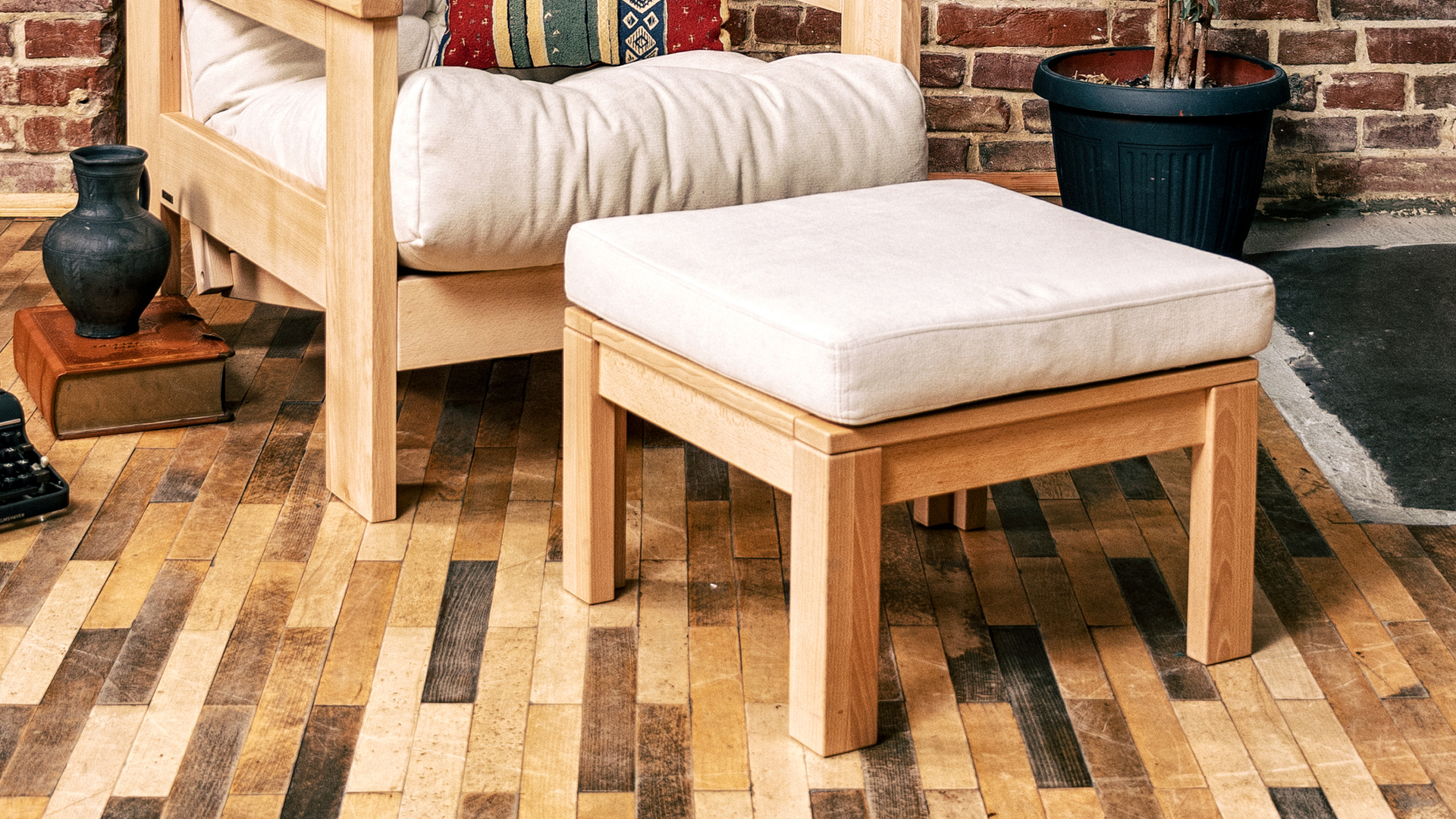 MEXICO multifunction table with a footrest, oiled wood (linseed oil) - cream