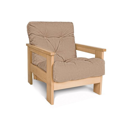 MEXICO armchair, oiled wood (linseed oil) - beige