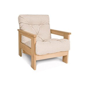Armchair MEXICO oiled beech wood (linseed oil) - cream small 1