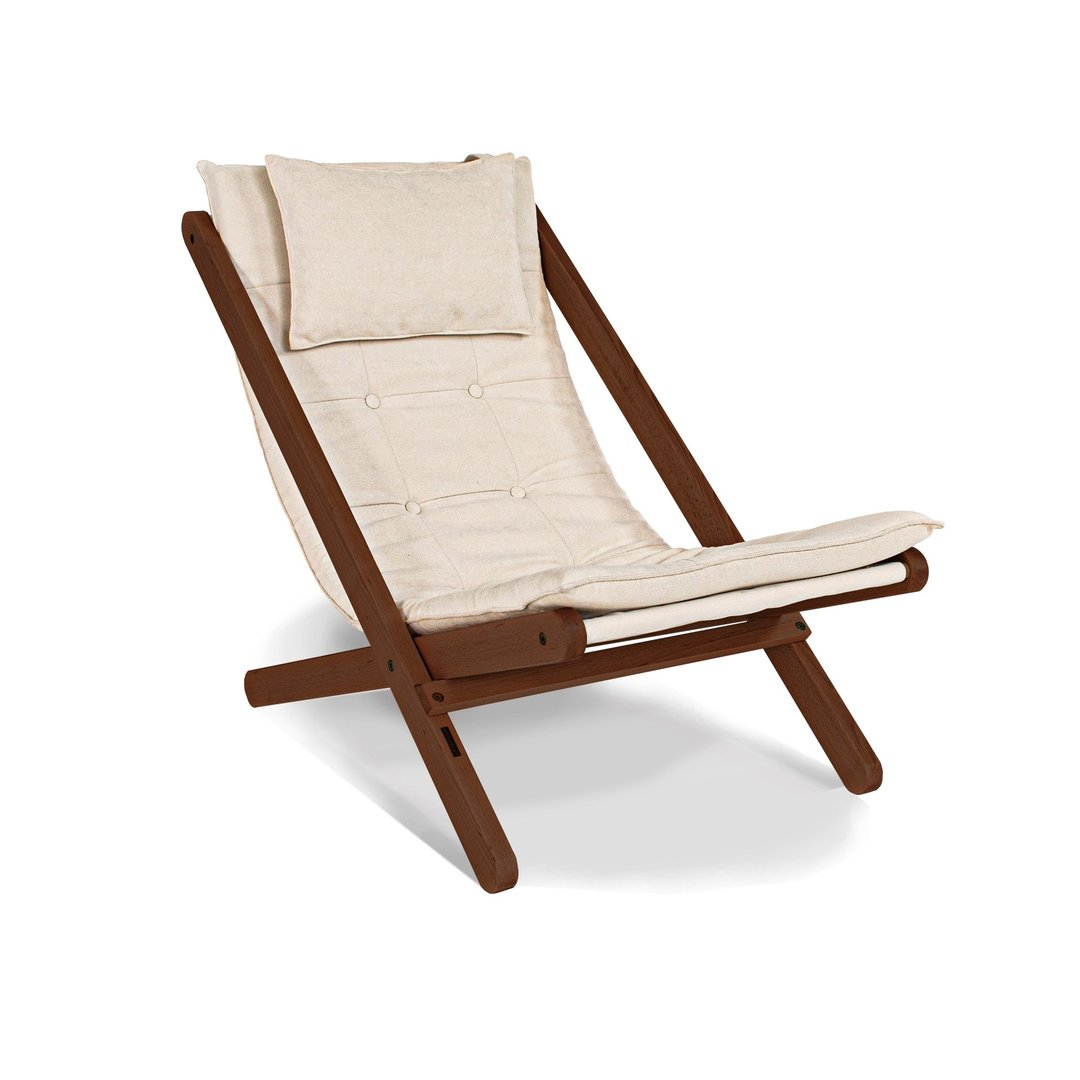 Allegro walnut deckchair (linseed oil) - cream
