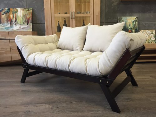 Allegro sofa bed walnut (linseed oil) - cream