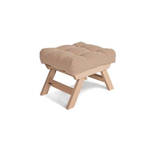 Allegro wooden footstool, pouffe oiled wood (linseed oil) - beige