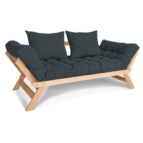 Allegro reclining sofa couch oiled wood (linseed oil) - graphite
