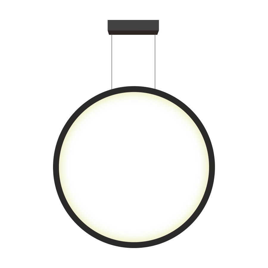 Hanging mirror, large black