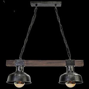 Hanging lamp Faro Black / Wood 2x E27 60 W small 10