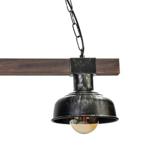 Hanging lamp Faro Black / Wood 2x E27 60 W small 6
