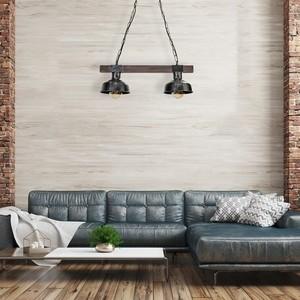 Hanging lamp Faro Black / Wood 2x E27 60 W small 7