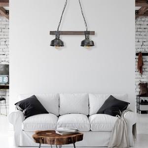 Hanging lamp Faro Black / Wood 2x E27 60 W small 8