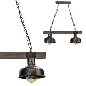 Hanging lamp Faro Black / Wood 2x E27 60 W small 0