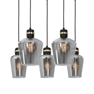 Hanging lamp Richmond Black / Gold 5x E27 Rectangle small 2