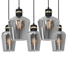 Hanging lamp Richmond Black / Gold 5x E27 Rectangle small 3