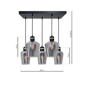 Hanging lamp Richmond Black / Gold 5x E27 Rectangle small 6