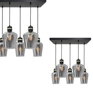 Hanging lamp Richmond Black / Gold 5x E27 Rectangle small 0